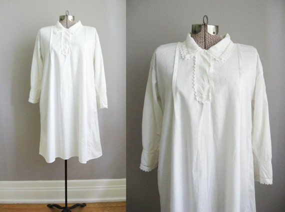 Antique Edwardian Chemise Nightgown / Lace Collar