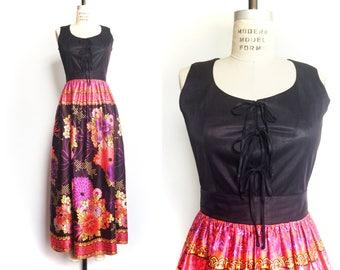 1960s Vintage Party Dress Maxi Dress Twofer Boho Black Bows Floral Print Pink Brown / Medium