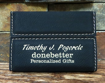 Personalized Business Card Holder, Engraved Monogrammed Corporate Gifts, Gift for Co Worker, First Job Gifts, Graduation(GFT245)