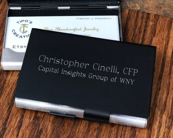 Personalized Business Card holder Double Sided- Office gift- New job- Salesman- Gifts for her - Gifts for Him- Corporate- Promotion