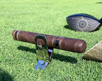 Personalized Golf Divot Tool with Cigar Holder, Ball Marker, Golfer, Cigar Aficionado, Fathers Day, Guys Weekend, Retirement, Engraved