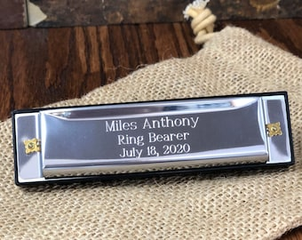 Harmonica Personalized Stainless Steel, Groomsmen, Kids Gifts, Ring bearer, Gifts for Men, Ring Security,  Officiant, Birthday, Christmas