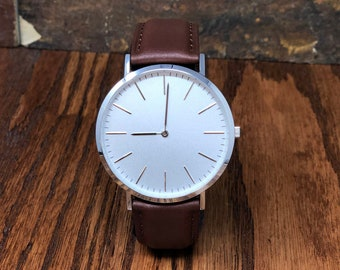 Personalized Mens Wrist Watch- Gifts for Men- Brown Leather Watch- Birthday- Dad- Grandfather- Groom - Christmas gift