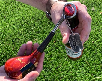 Golf Club Bottle Opener Personalized with Dog Tag, Custom Groomsman Gift, Engraved Gifts for Men, Groomsmen, Unique Guys Gifts, Fathers Day