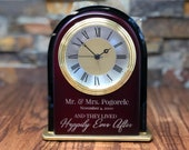 Personalized Mantle Alarm Clock, Custom Wedding Gift, Anniversary, Fathers Day, Office Desk, Promotion, Home decor, Couples, Retirement