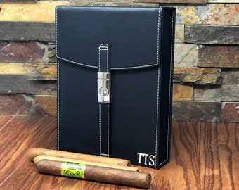 Cigar Travel Humidor Personalized - Gifts for Men- Groomsmen Gift- Best Man-Fathers Day- Husband- Father of the Bride- Groom - Christmas