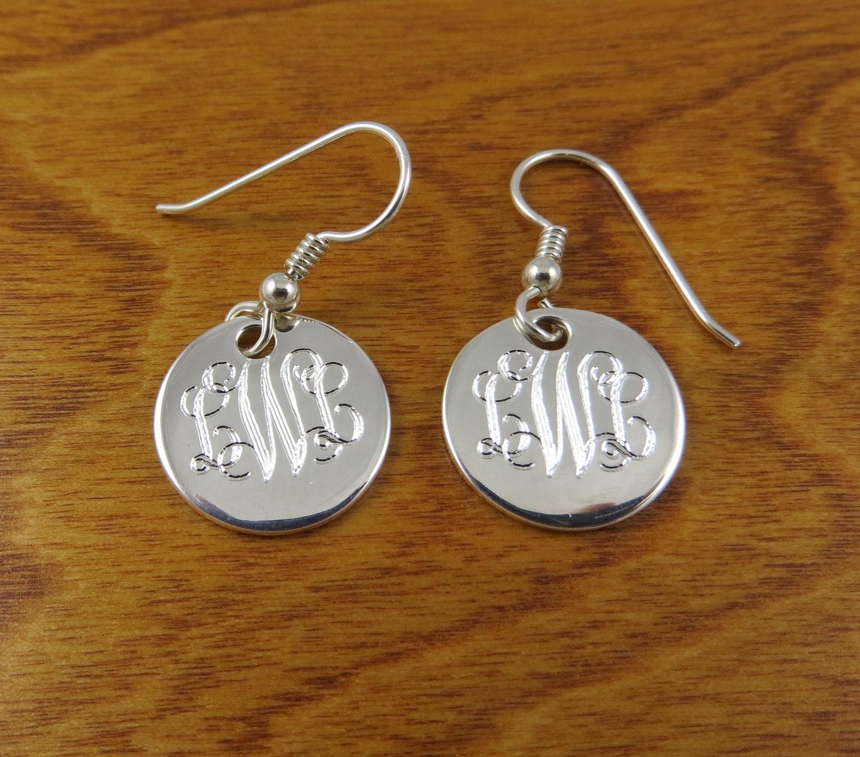 559199971 Monogram Earrings Sterling Silver Monogrammed   Etsy