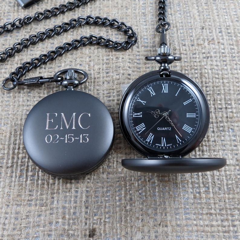 Personalized Gunmetal Pocket Watch Custom with Monogram image 0