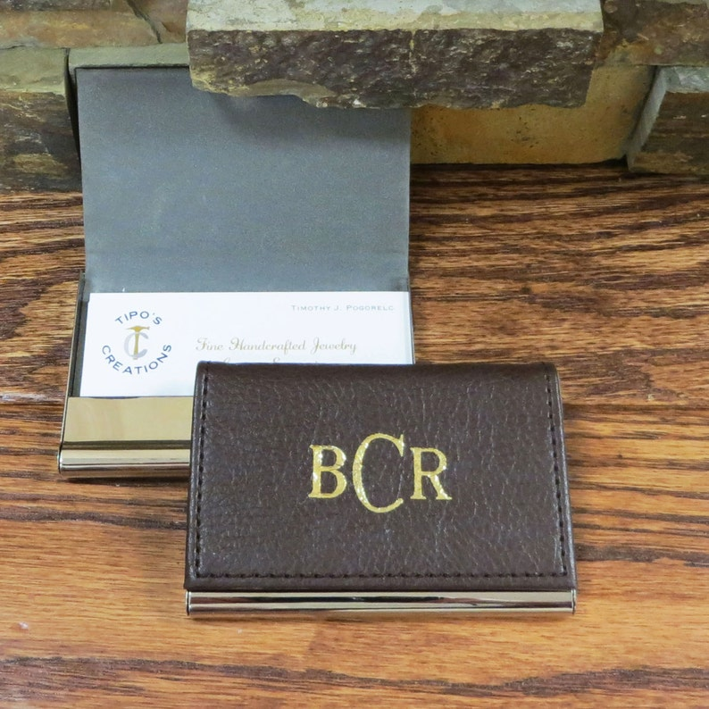 Leather Business Card Holder Gifts for Men Office Gift image 0