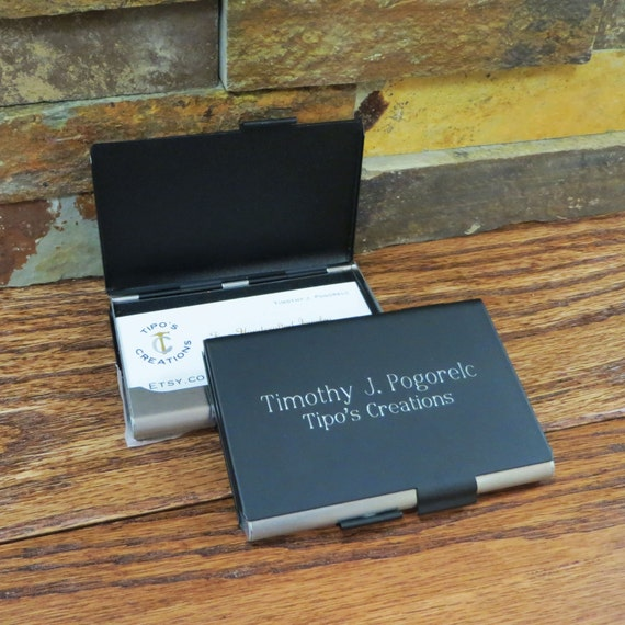 Personalized business card holder double sided office gift etsy image 0 colourmoves