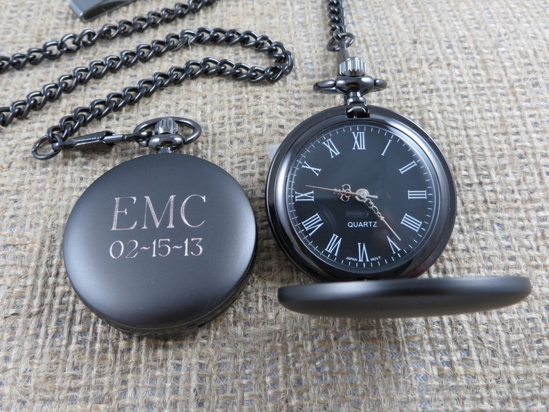 Personalized Gunmetal Pocket Watch Custom with Monogram image 4