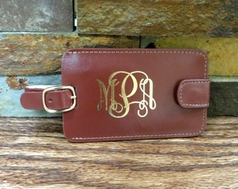 Brown Leather Personalized Luggage Tag, Gifts for Women, Gifts for Men, Corporate Gift, Travel Gift