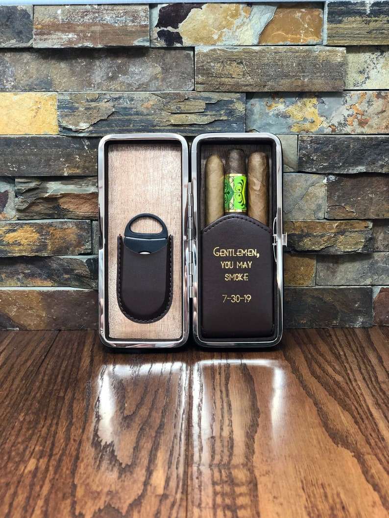 Groomsmen Gift Personalized Cigar Case Gifts for Men Fathers image 0