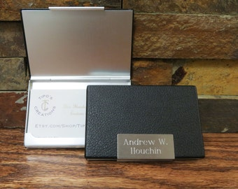 Leather Business Card Holder Case Personalized - Engraved- Gifts for Men - New Job Gift (279)