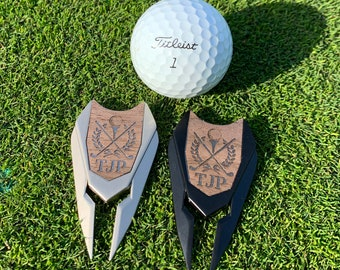 Personalized golf divot repair tool, custom engraved magnetic ball marker, groomsmen gift, golf accessory green fixer, fathers day sports