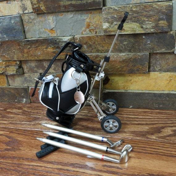 Golf Bag Pen Holder w/ 3 Pens- Office Gift- Golfer Gift- Model Golf Bag Cart Pen Holder on golf cart trophy, forklift pen holder, golf cart tape dispenser, golf cart organizer, golf bag pen holder, golf cart radio, golf cart mugs, golf cart batteries, golf cart keychain, golf cart bags, golf cart tray,