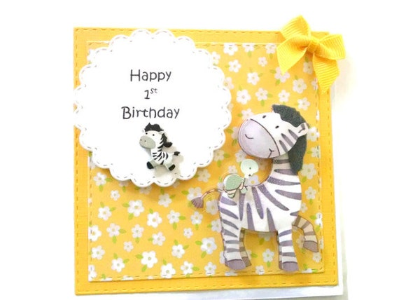 Happy 1st Birthday Card In Yellow With Flowers And Zebra Baby Etsy