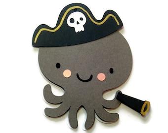 Pirate Octopus Card , Gray Octopus Card , Sea Creatures , Kids Cards , Pirate Card