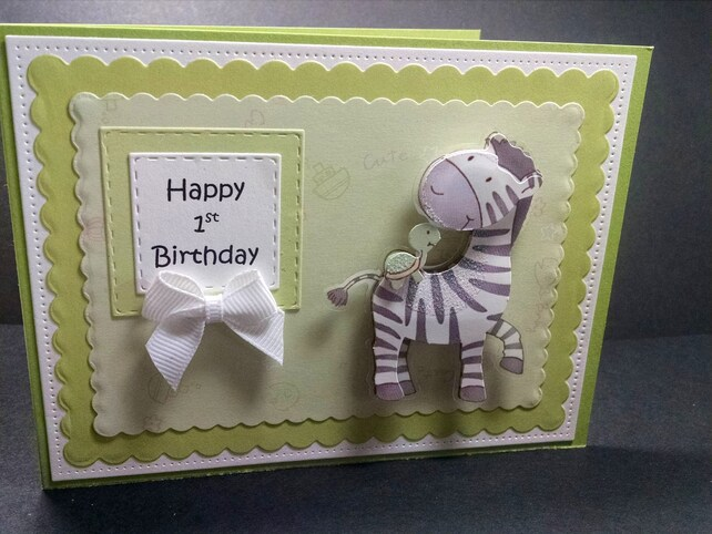 Baby 1st Birthday Card With Paper Zebra Zebra Birthday Card First