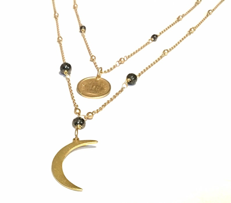 Gold moon necklace Gold moon pendant Moon necklace gold image 0
