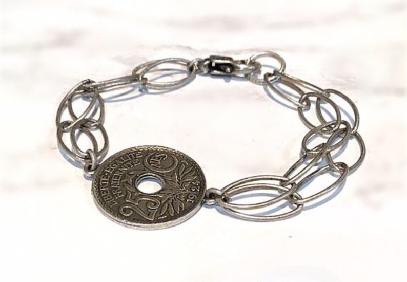 Silver statement bracelet Chain bracelet silver- Coin chain bracelet Silver coin bracelet Silver link bracelet Silver chain bracelet