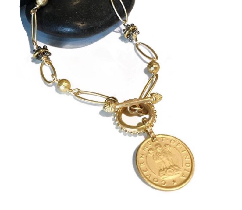 Gold coin necklace Gold statement necklace Coin choker gold image 0