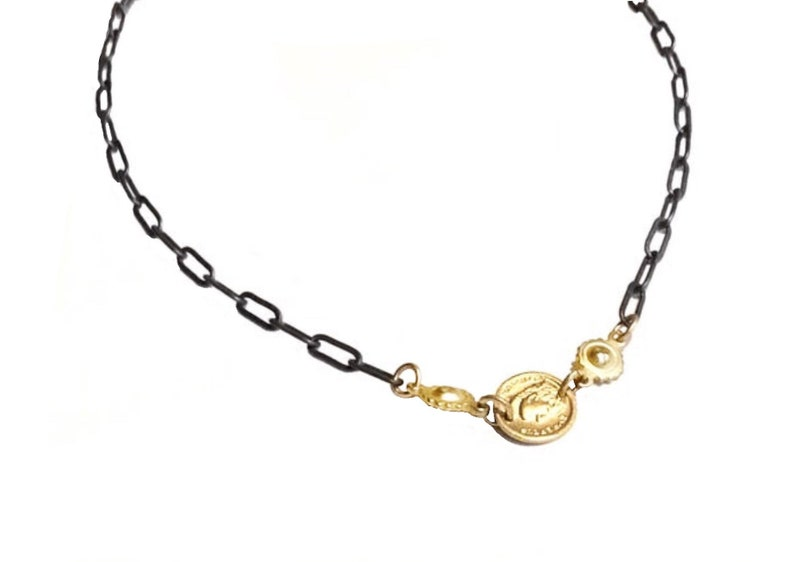 Tiny coin necklace Tiny chain necklace Gold coin necklace image 0