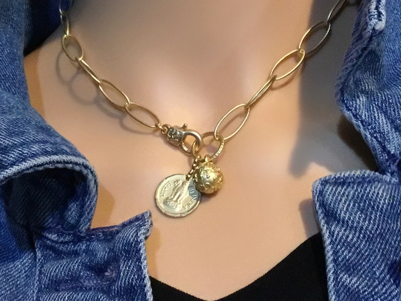 Gold charm necklace Gold coin necklace Charm necklace for image 0