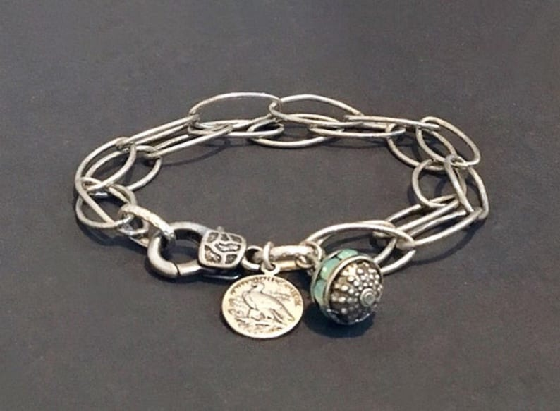 Silver charm bracelet Silver coin bracelet Charm bracelet image 0