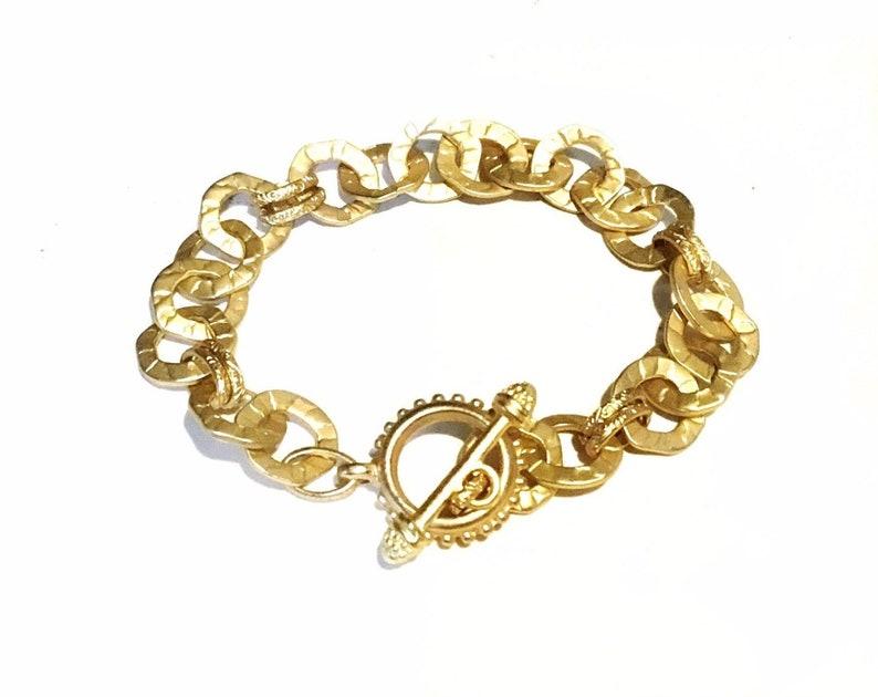 Chunky link bracelet  Chunky gold bracelet  Gold link image 0