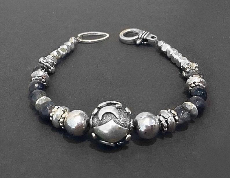 Silver bead bracelet Silver gemstone bracelet Boho bead image 0