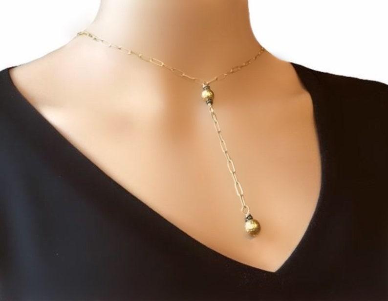 Gold y necklace  Gold dainty necklace  Y necklace gold  Y image 0