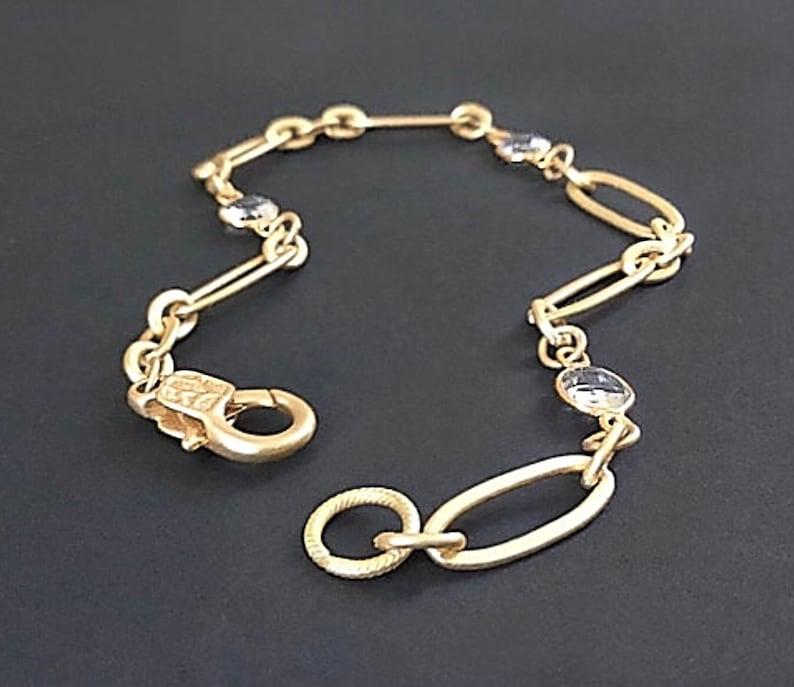 Gold dainty bracelet Gold link bracelet Dainty gold image 0