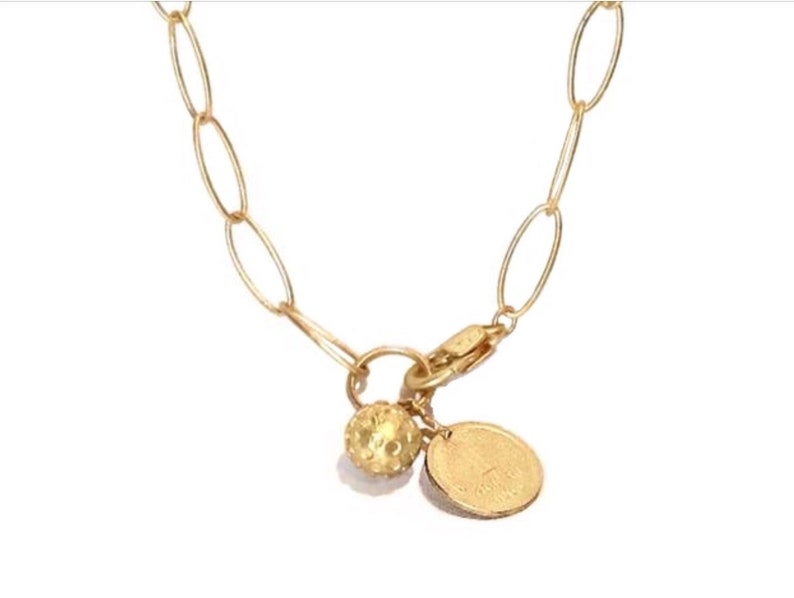 Gold charm necklace Gold necklace for women Charm necklace image 0