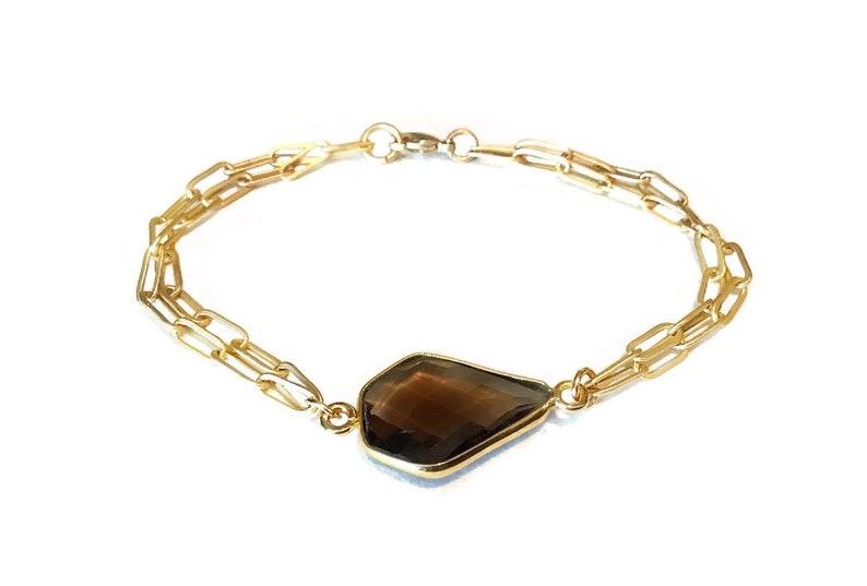 Gemstone chain bracelet Gemstone gold bracelet Gold chain image 0