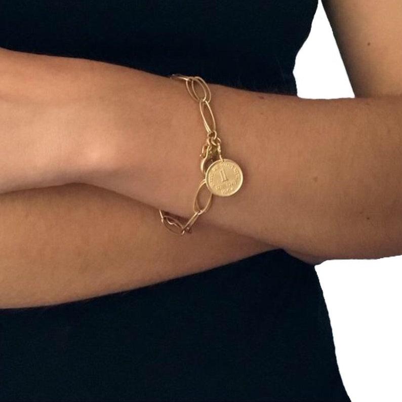 Gold coin bracelet  Gold  charm bracelet  Coin bracelet  image 0