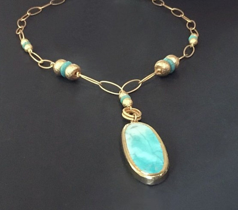 Turquoise statement necklace Turquoise gold necklace image 0