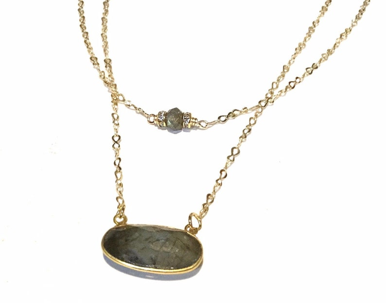 Labradorite necklace gold Labradorite necklace gift for her image 0