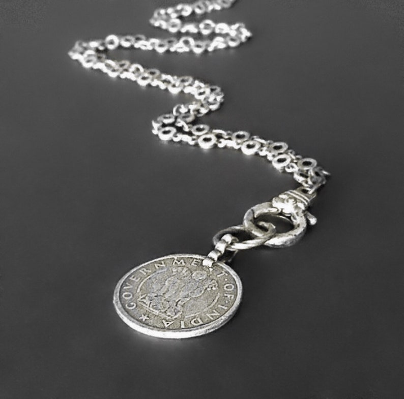 Long silver necklace  Long coin necklace  Silver necklace image 0