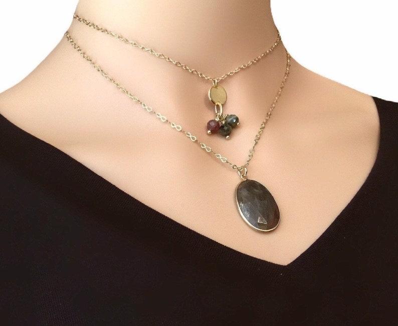 Gemstone necklace set Gemstone layered necklace Gold image 0
