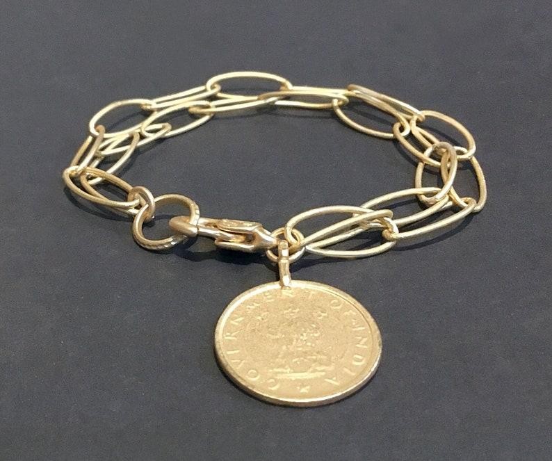 Charm bracelet gold Charm bracelet for women Gold coin image 0