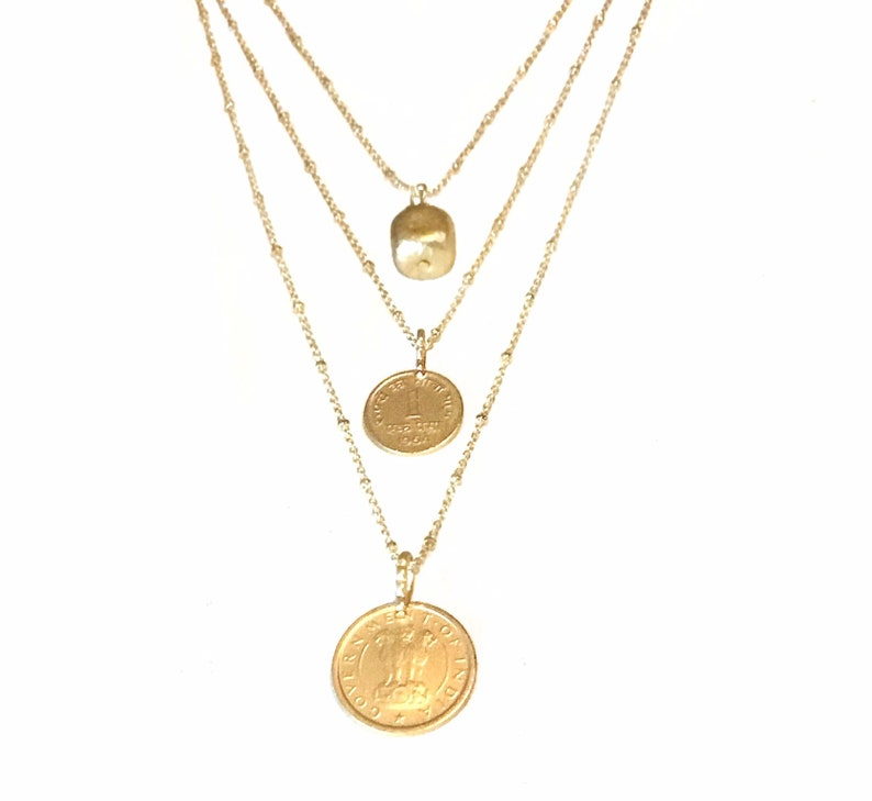 Gold layered necklace Gold coin necklace Layered necklace image 0
