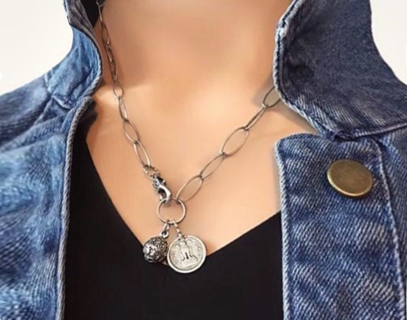 Silver coin necklace Silver charm necklace Coin necklace image 0
