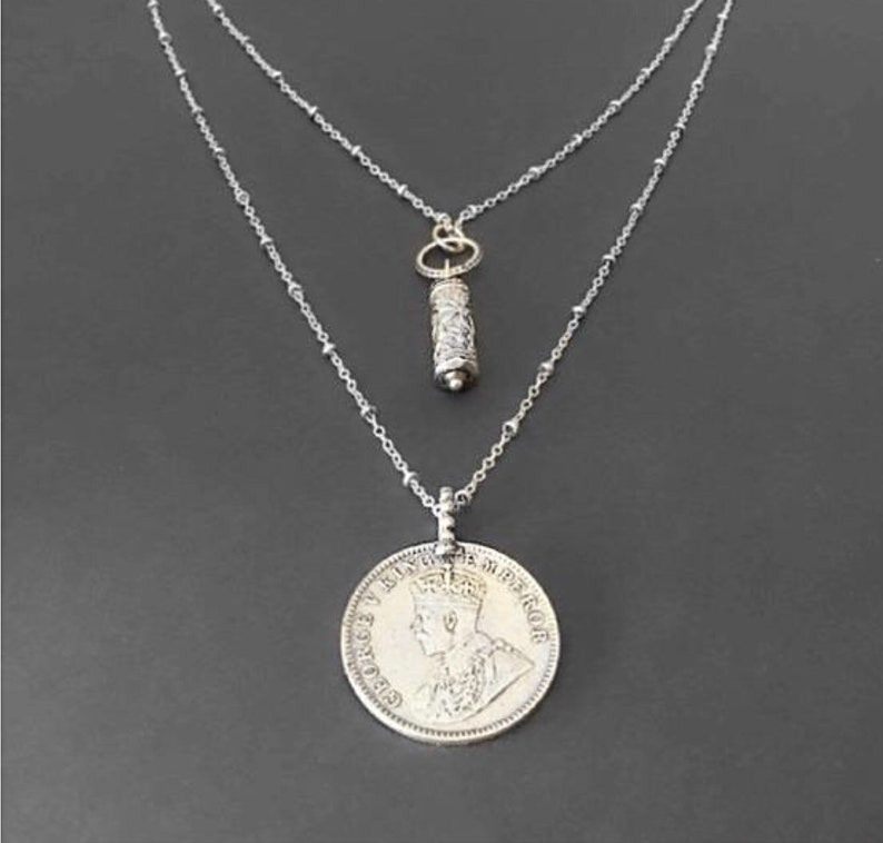 Layered coin necklace Layered silver necklace Silver coin image 0