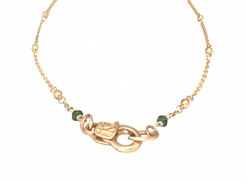 Dainty emerald necklace  Dainty gold necklace  Emerald image 0