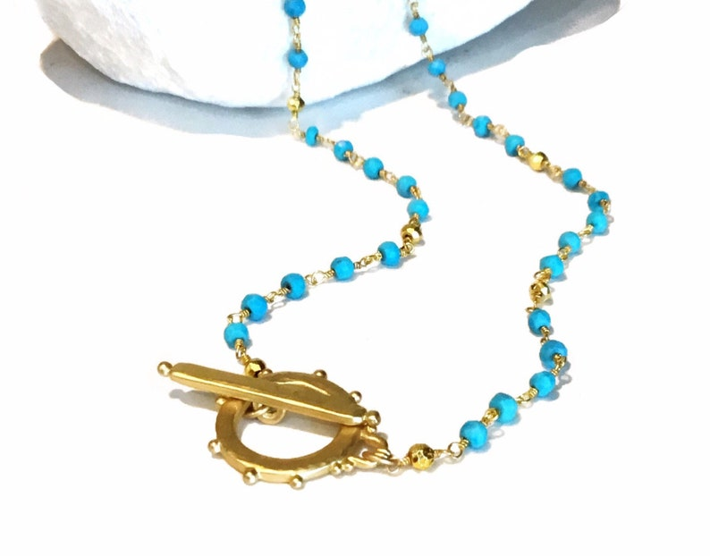 Dainty turquoise necklace  Dainty gold necklace  Turquoise image 0