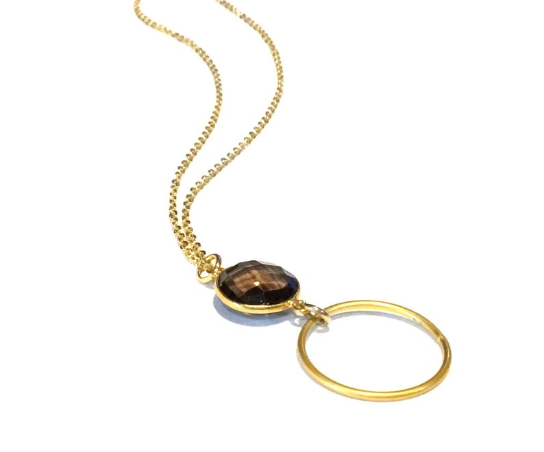 Gold circle necklace Gold pendant necklace Dainty circle image 0