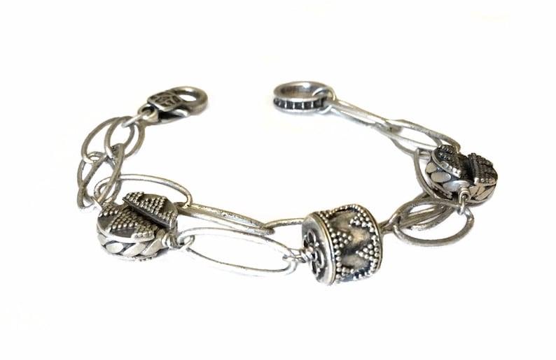 Silver link bracelet Silver chain bracelet Chunky link image 0