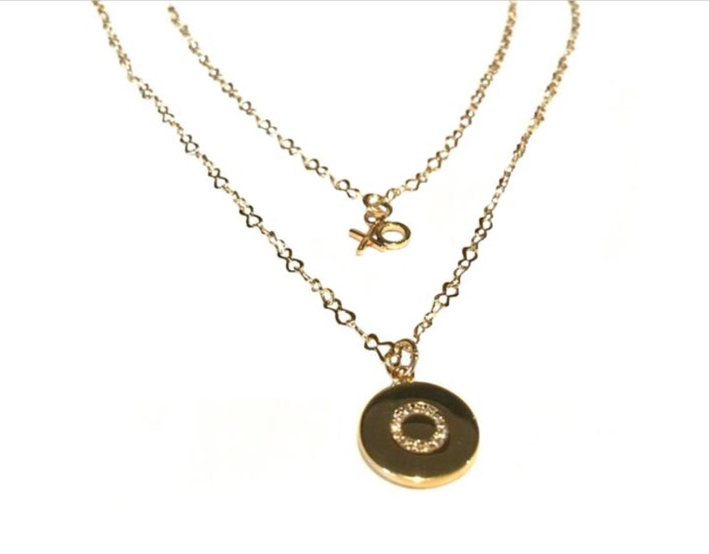 Gold disc necklace  Gold necklace set Layered disc necklace image 0