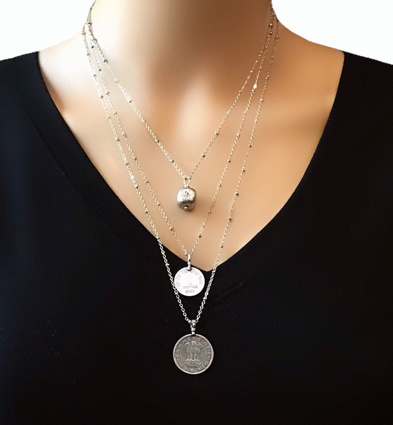Silver layered necklace  Silver coin necklace  Layered image 0